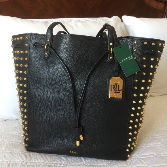 0a14a3503aa1 Authentic Ralph Lauren Studded Leather Tote. M_5a74c6b8daa8f67642a22235